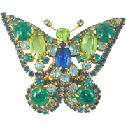 Vintage Juliana D&E Butterfly Brooch Faux Jade Blue