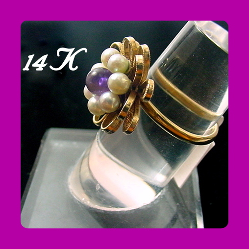 Vintage 14K Ring Pearl Amethyst RIBBON LOOPS Yellow Gold Sz 7.5