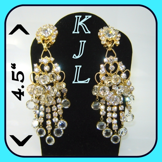 Vintage KJL Kenneth Lane 4.5 Inch Chandelier Earrings BOOK PC