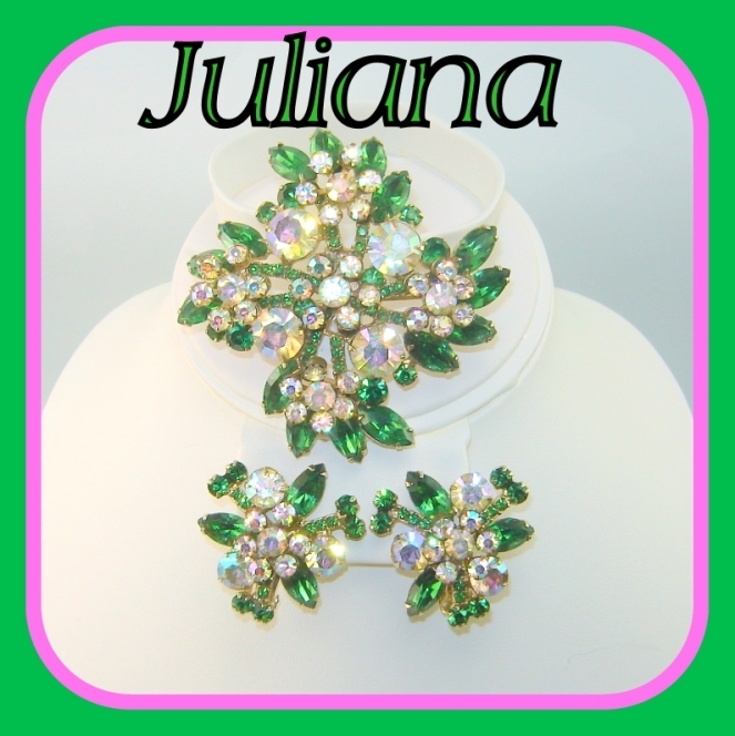 Vintage JULIANA Brooch Earring Green Navette AB Florettes Large Set