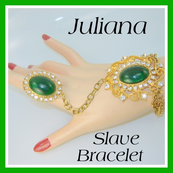 Vintage Juliana D and E SLAVE BRACELET Green Rhinestone VHTF