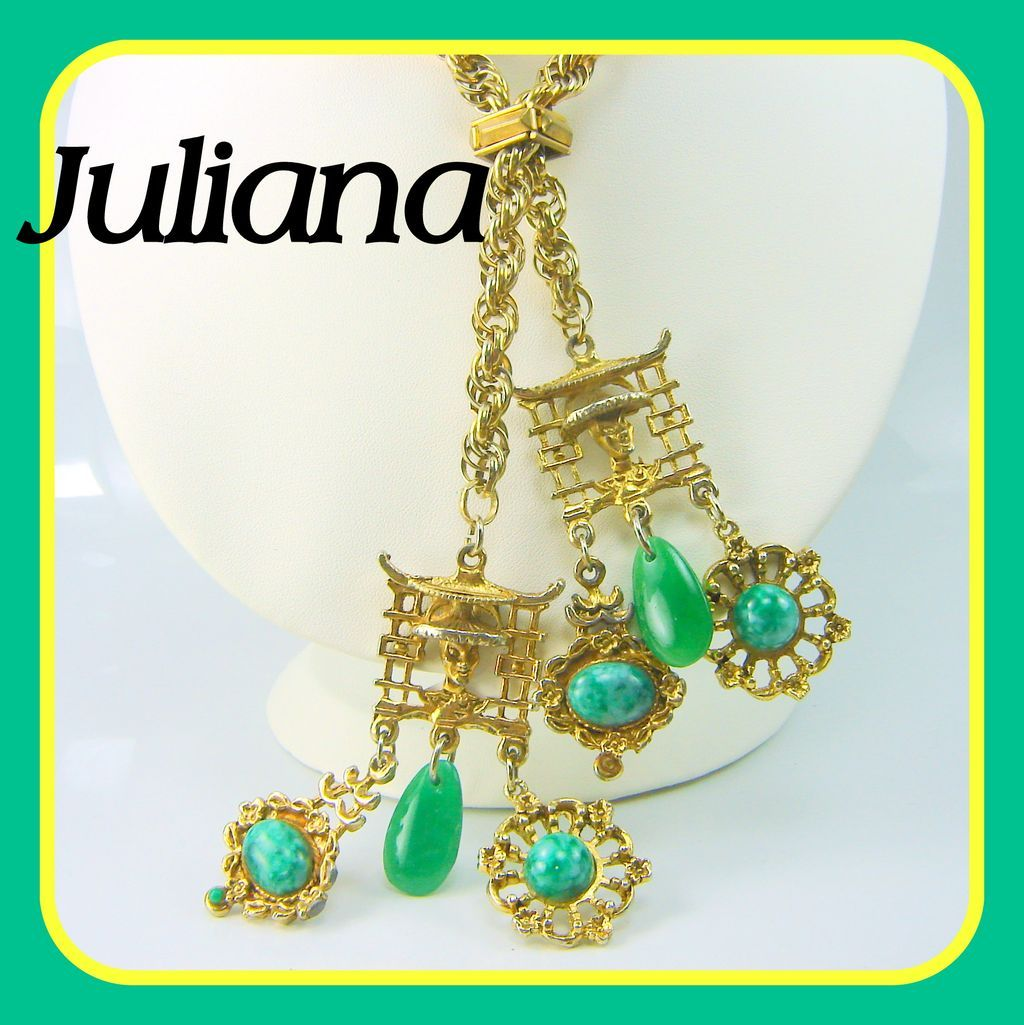 Vintage Juliana Necklace Asian Oriental Charm Lariat Necklace Greens Book Pc