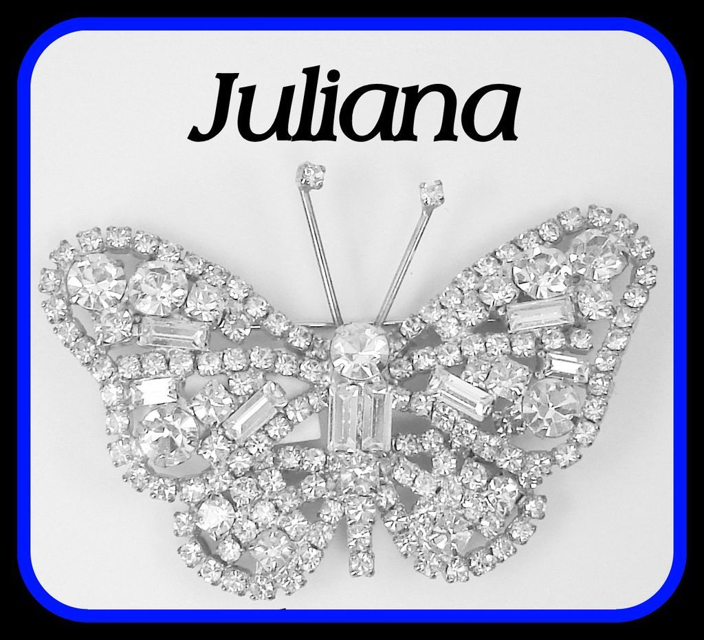 Vintage Juliana Brooch  Butterfly Layered Baguette Clears