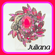 Vintage Juliana Brooch Red Fuchsia Rhinestone Metal Flower Leaf