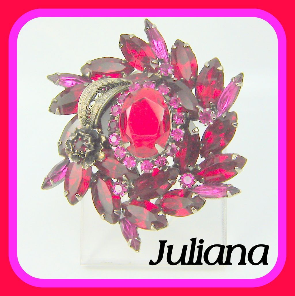 Vintage Juliana Brooch Red Fuchsia Rhinestone Metal Flower Leaf