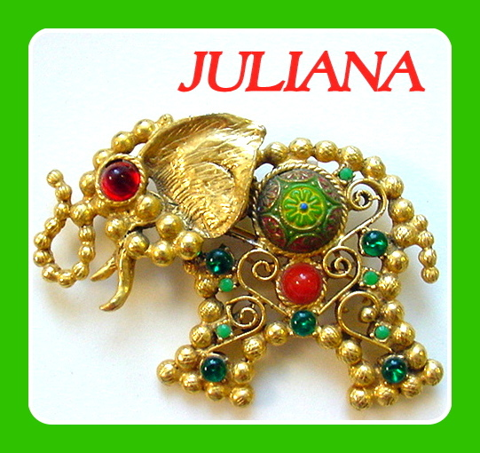 Vintage Juliana Elephant Brooch Pendant Moroccan Matrix Book Pc