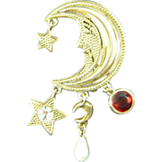 Vintage Juliana Brooch Book Piece Crescent Moon Charm