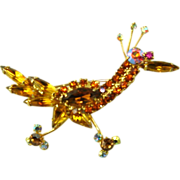 Vintage Juliana Roadrunner Brooch Amber Navettes Bird Book Pc Rhinestone