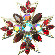 Vintage Juliana Cross Brooch Pendant Red Navette AB Book Piece