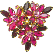 Vintage Juliana Brooch Red Triple Flower Navette Rhinestone