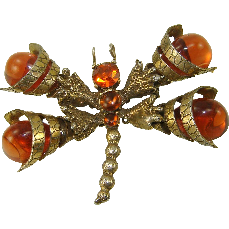 Vintage Juliana Brooch Dragonfly Cone Wing Large Amber