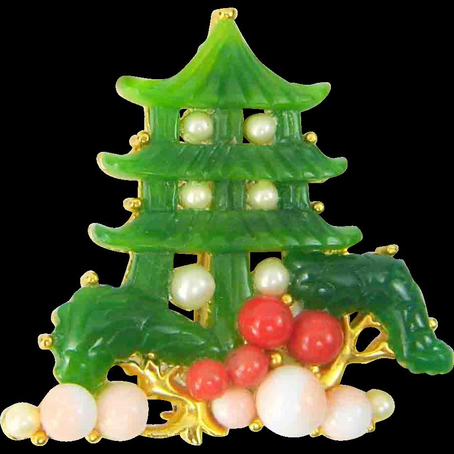 Vintage PAGODA Brooch Faux Green Jade Coral Pearls Figural