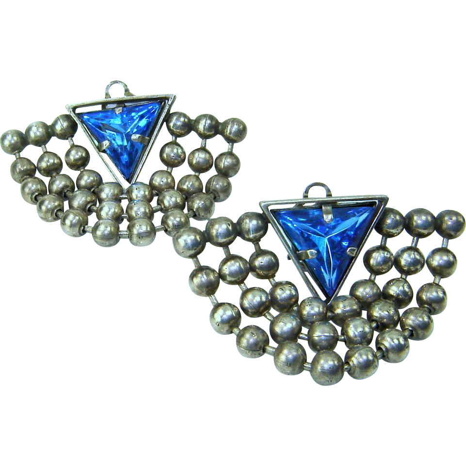 Vintage Earrings Blue Triangle Rhinestone Ball Chain Swags Clip Large