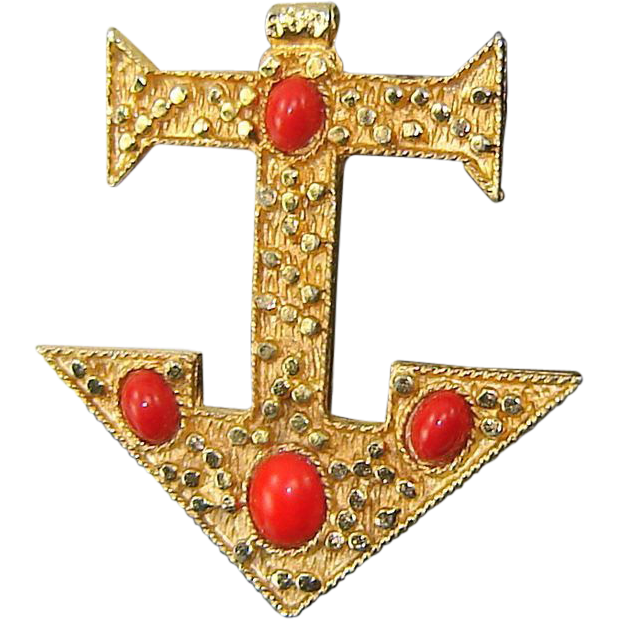 Vintage Red High Dome Cabochon ANCHOR Brooch