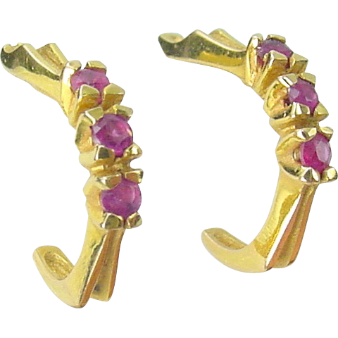 Vintage 14K Yellow Gold Triple RUBY Hoop Earrings