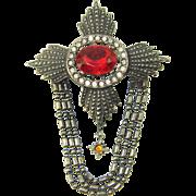 Vintage Juliana CROSS Brooch Red Rhinestone Drape Ball Chains