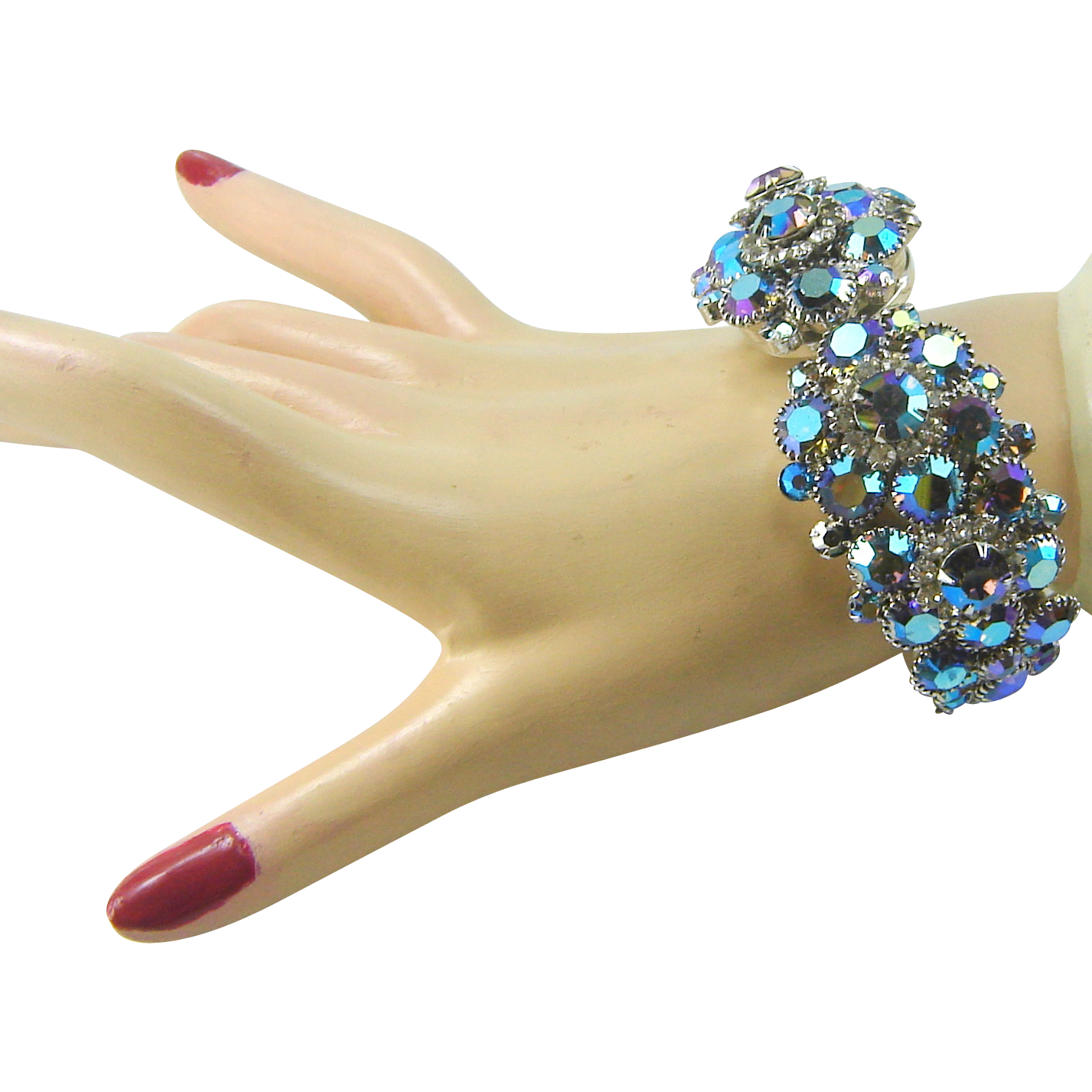 Vintage Juliana Bracelet Peacock AB Rhinestone Loaded Clamper Book Piece