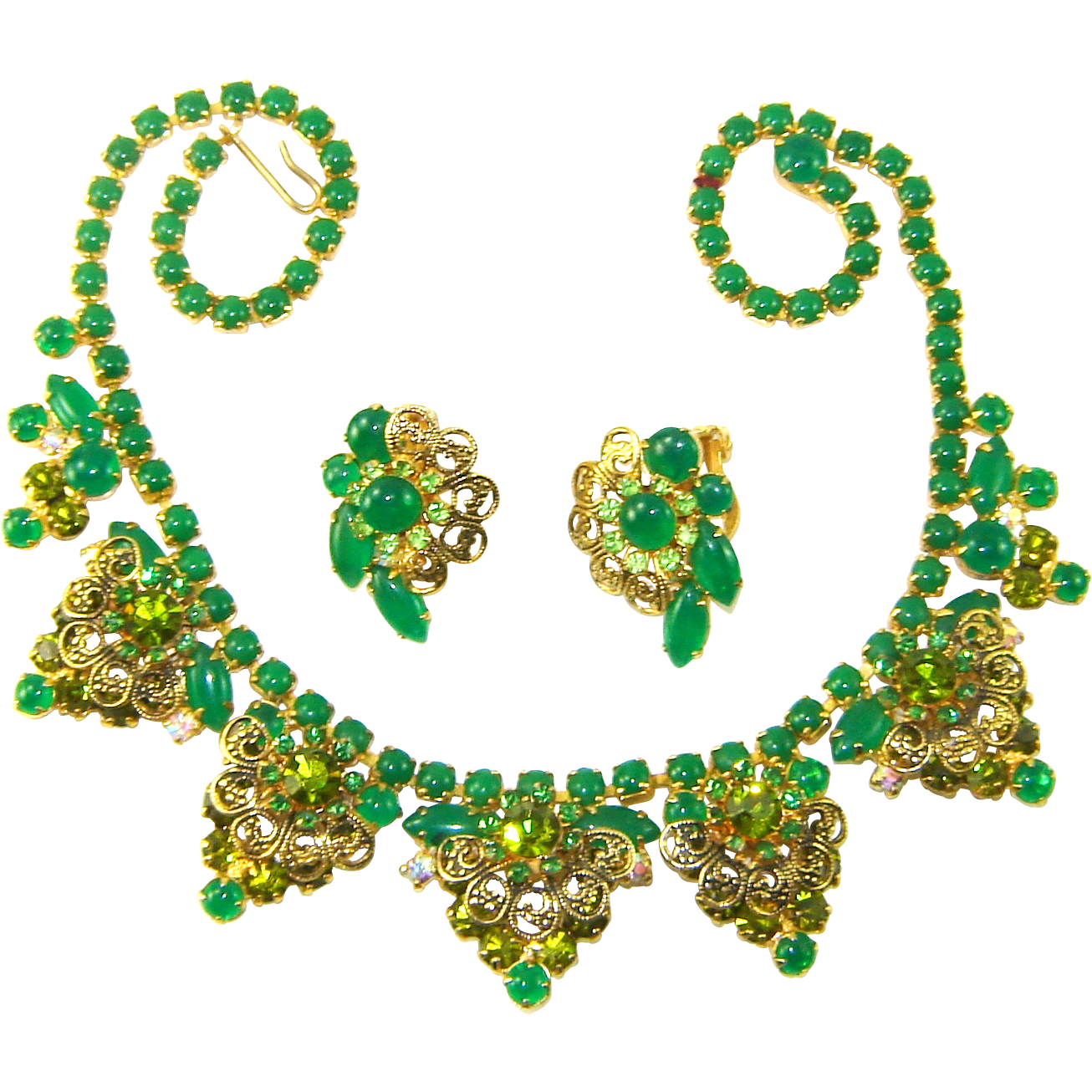 Vintage Juliana Necklace Earrings Green Jade Glass Peridot Rhinestone Filigree Set