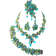 Vintage KRAMER Necklace Bracelet Brooch Earrings Aqua Blue Green Fruit Salad Rhinestones Leaves Dangle Beads