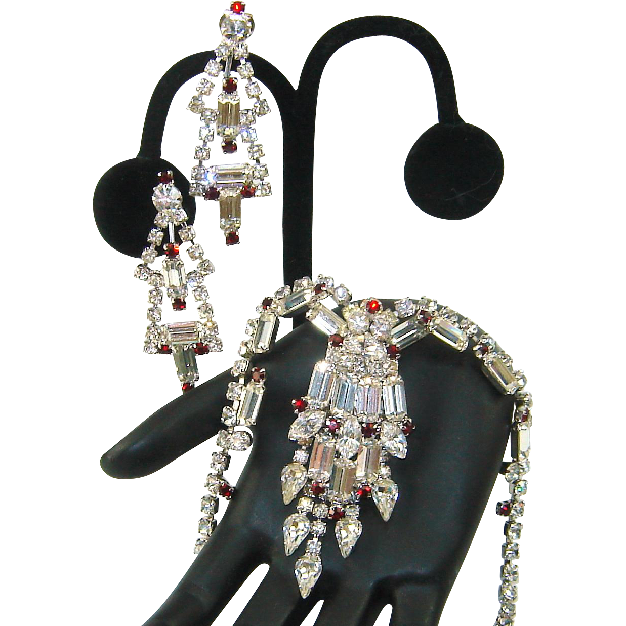Vintage Juliana Necklace Earrings Clear Baguette Garnet Red Rhinestone Dangle Set
