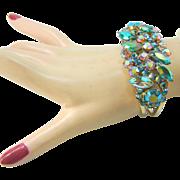 Vintage Juliana Bracelet Clamper Peacock AB Navette