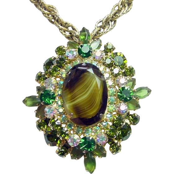 Vintage JULIANA Brooch Pendant Necklace Green Givre AB Rhinestone