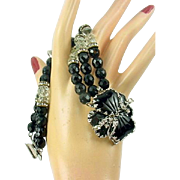 Vintage HOBE Bracelet Black Heart Art Glass Rhinestone 3 Strand Bead