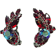 Vintage Juliana Red Navette AB Ear Climber Earrings