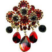 Vintage Juliana D&E Red Black Art Glass Beaded Dangle Rhinestone Brooch