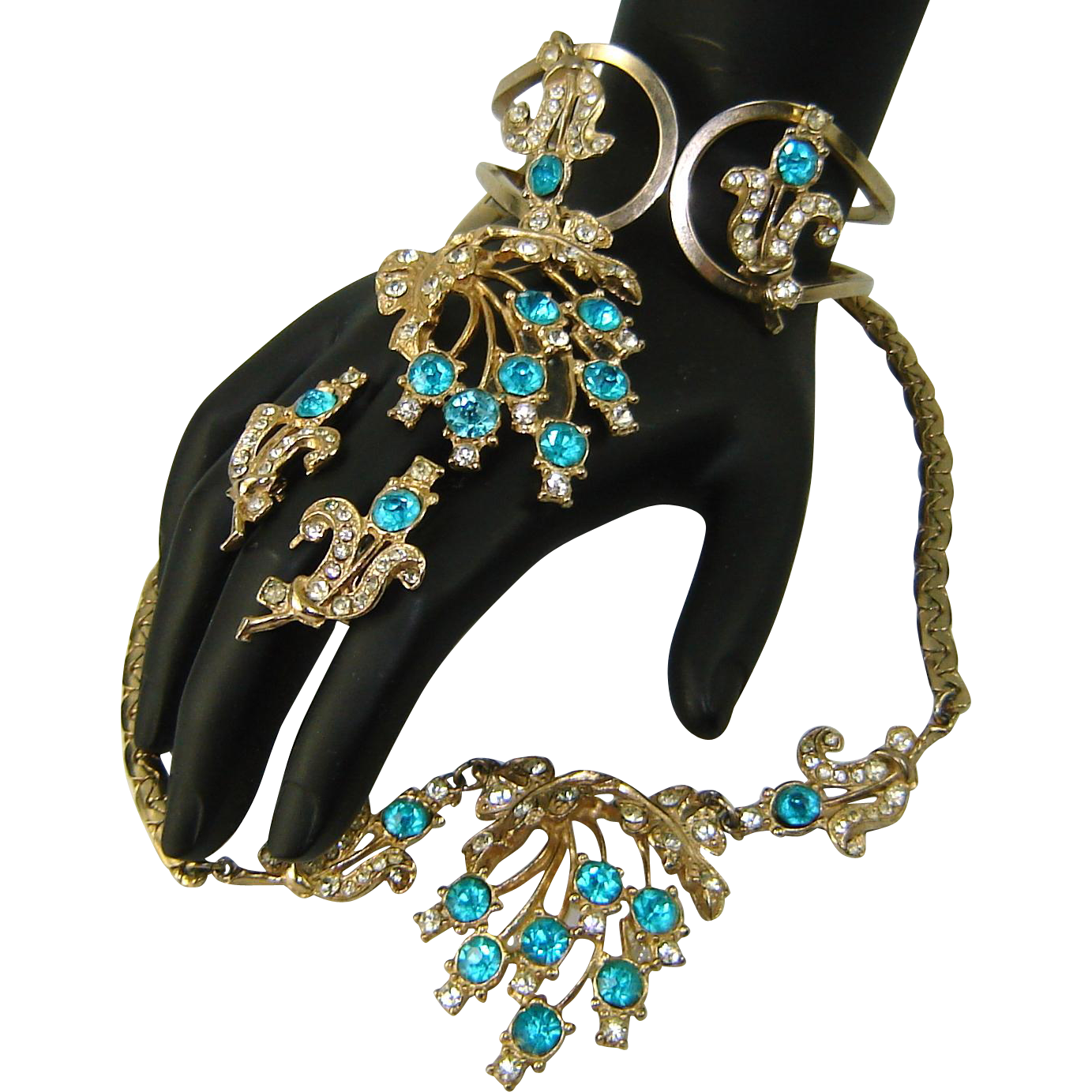 Vintage OLEG CASSINI Necklace Bracelet Brooch Earrings Aqua Rhinestone 24K GP Parure