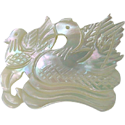 Vintage Carved Mother Of Pearl MOP Swan and Baby