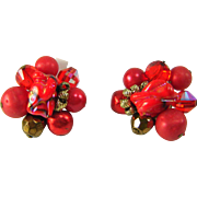 Vintage VENDOME Fire Red Orange Art Glass Crystal Bead Cluster Earrings