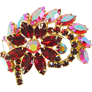 Vintage Juliana Red Flower Brooch AB Swirl Navette Rhinestone