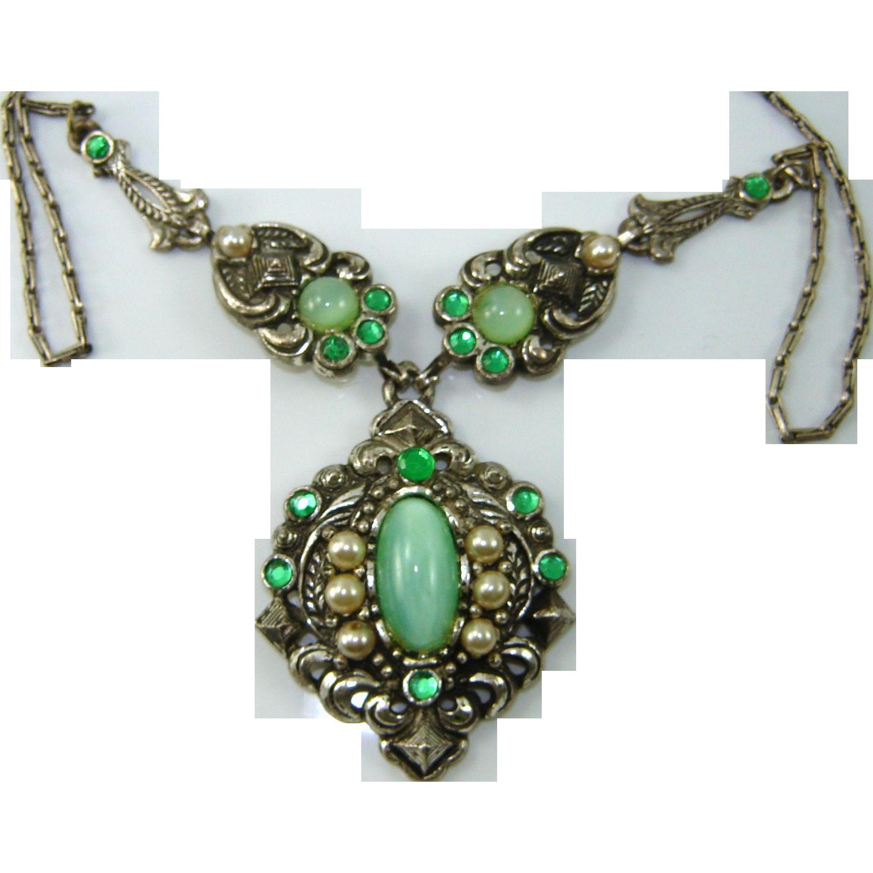 Vintage Necklace VICTORIAN REVIVAL Green Satin Moonstone Rhinestone