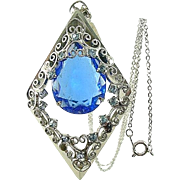 Vintage Pendant Necklace Large Blue DIAMOND Shaped Rhinestone Filigree