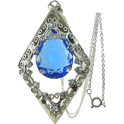 Vintage Large Blue DIAMOND Shaped Rhinestone Filigree Pendant Necklace