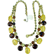 Vintage Necklace Yellow MOONSTONE Citrine Amber Rhinestone