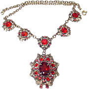 Vintage 1930's Necklace SINGER COHEN NYC Ruby Red Dangle Festoon