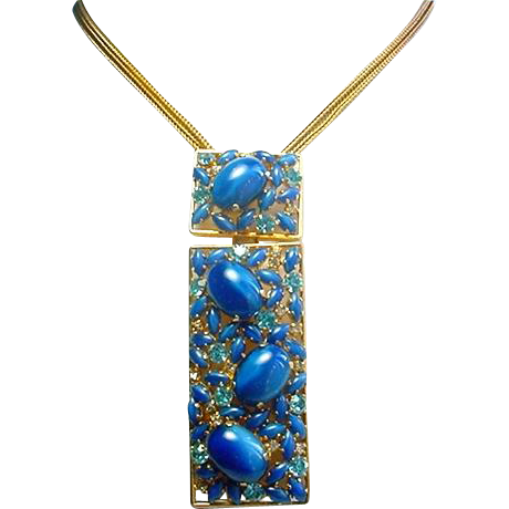 Vintage BLUE MOONSTONE Necklace Glass Large Designer