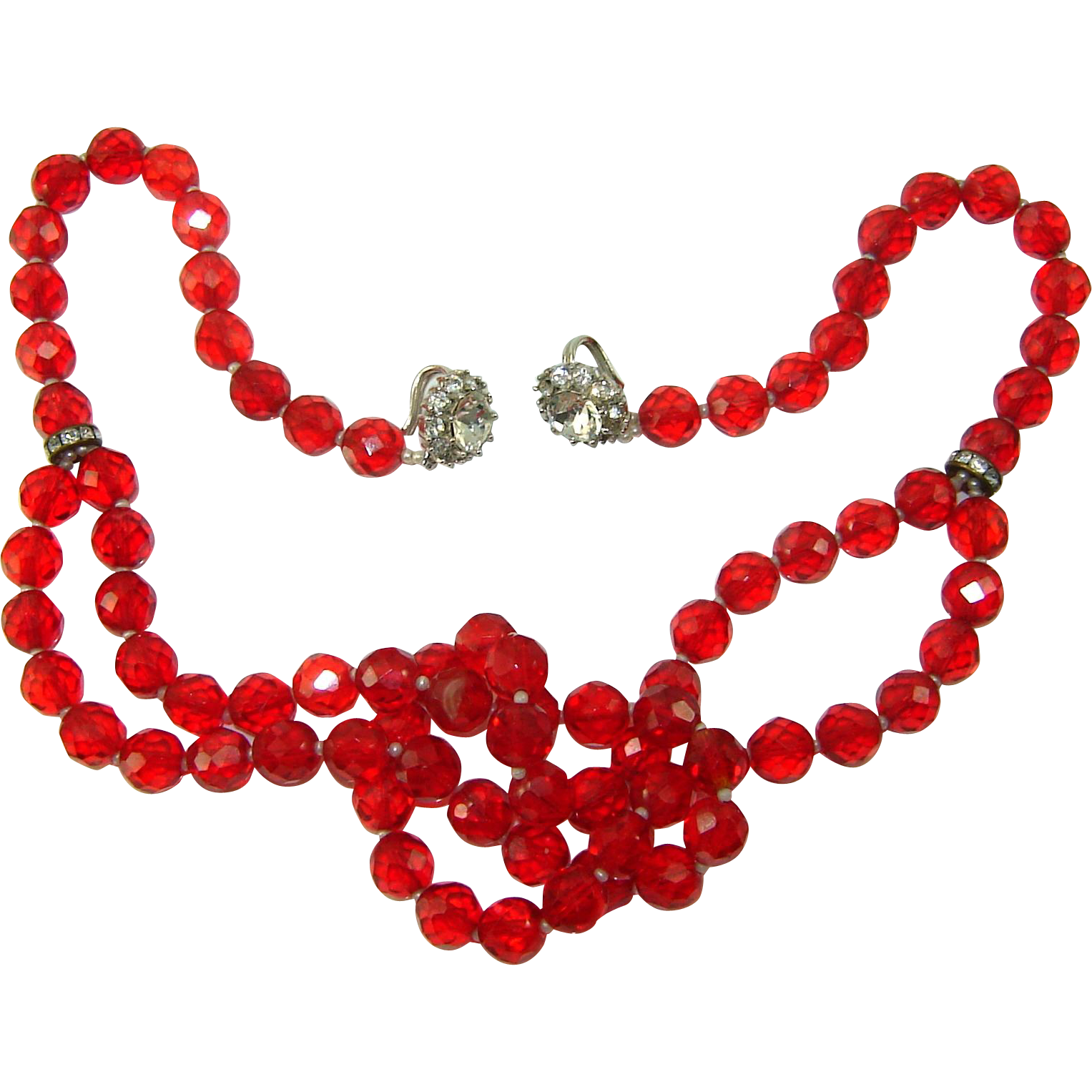 Vintage Judith McCann Shuvon Red Crystal Rhinestone Multi Use Necklace Bracelet Wraps