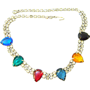 Vintage Rhinestone Jewel Tone Pears Necklace