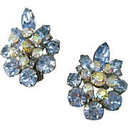 Vintage Juliana Large Blue Ice AB Florette Navette Rhinestone Earrings
