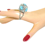 Vintage Huge Faux Turquoise Rhinestone Square BOX RING
