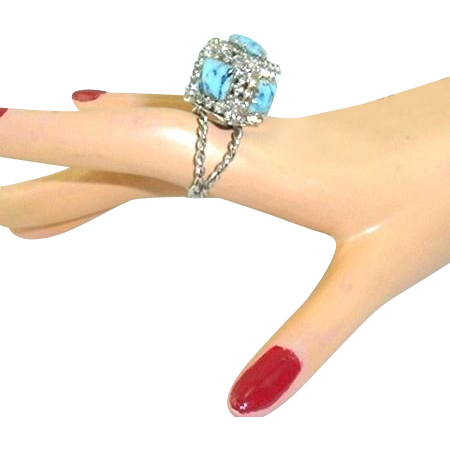 Vintage Box Ring Faux Turquoise Rhinestone Square Huge