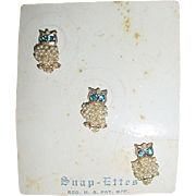 Vintage Tiny Rhinestone Faux Pearl OWL Pins Original SNAP-ETTES Card