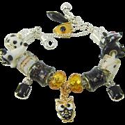 European Beads Skunk Cat Owl Charm Bracelet Murano Lampwork OOAK