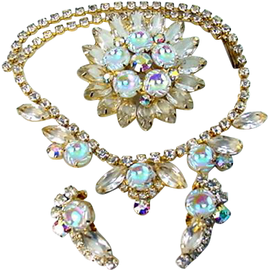 Vintage JULIANA Necklace Brooch Earrings Scooped Iridescent Art Glass Rhinestone Parure
