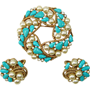 Vintage TRIFARI  Faux Turquoise Pearl Rhinestone Brooch Earrings Set