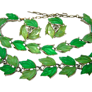 Vintage GREEN GLOWING Leaves Necklace Bracelet Earring Set