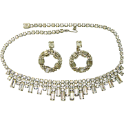 Vintage WEISS Necklace Earring Set Baguette Rhinestones
